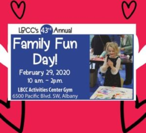 LBCCs Family Fun Day is announced next to a picture of a young girl enjoying finger painting